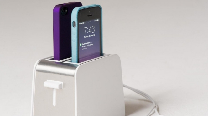 Toaster Plugged In ~ Iphone toaster dock charges your phone informer
