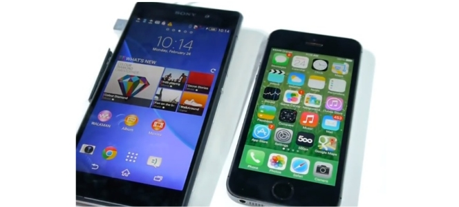 Xperia Z2 vs iPhone %S