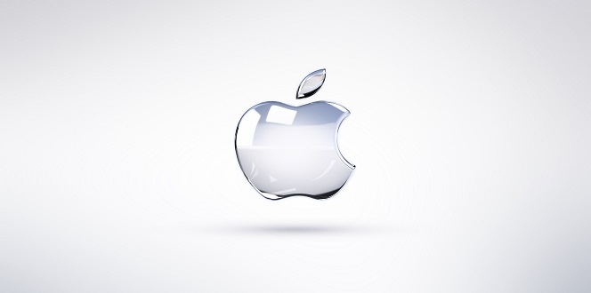 Apple logo clear white
